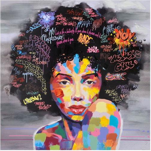 Nouveau-Graffiti-Rue-Mur-Art-Abstrait-Moderne-Africain-Femmes-Portrait-Toile-Peinture-L-huile-Sur-Les